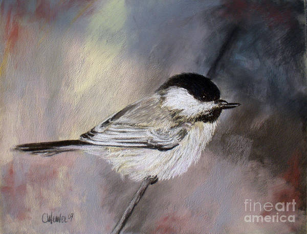 Chickadee Poster featuring the painting Chickadee by Cathy Weaver