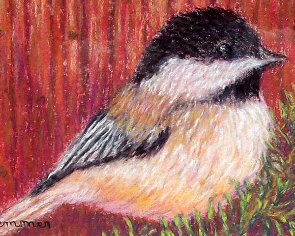 Chickadee Poster featuring the pastel Chickadee by Sandy Hemmer