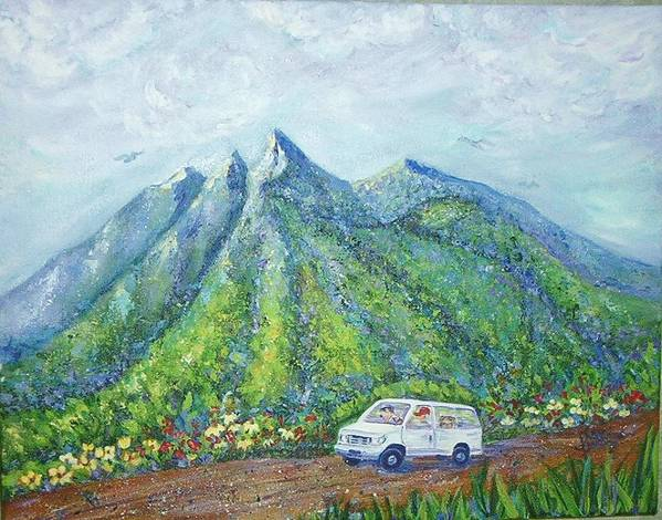 Mountains Poster featuring the painting Chief And Amigos South Of The Border by Sheri Hubbard