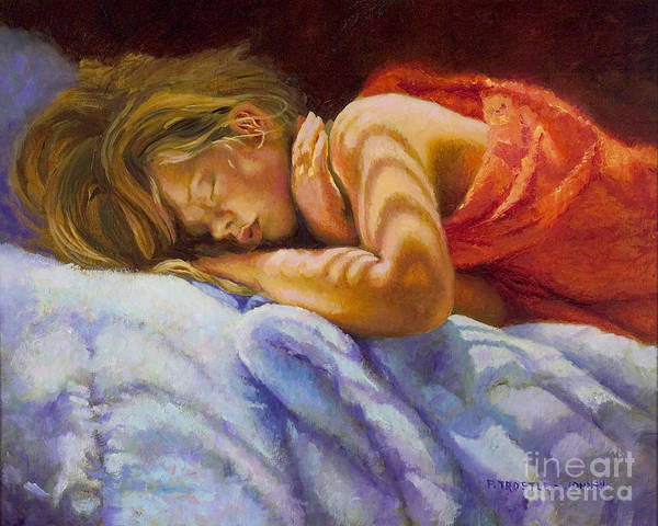 Wall Art Poster featuring the painting Child Sleeping Print Wall Art Room Decor by Patti Trostle