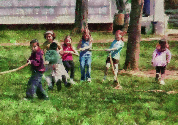 Hdr Poster featuring the photograph Children - Tug Of War by Mike Savad