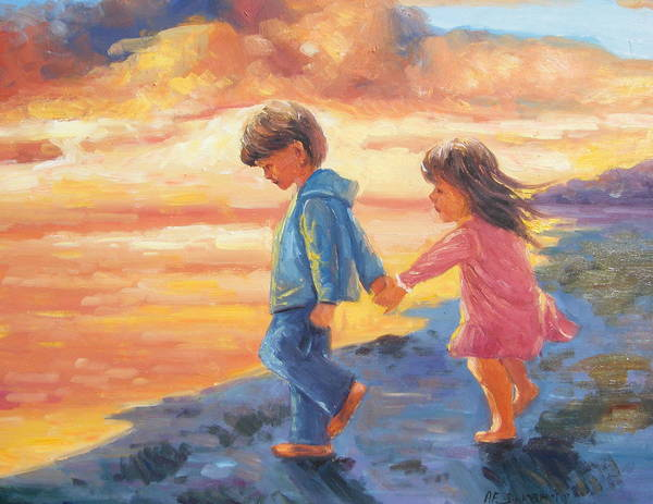Children Water Sunset Poster featuring the painting Children At Sunset by Imagine Art Works Studio