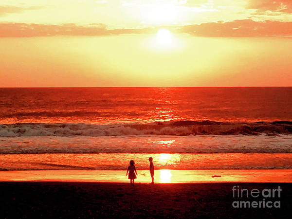 Sunset Poster featuring the photograph Children by HELGE Art Gallery