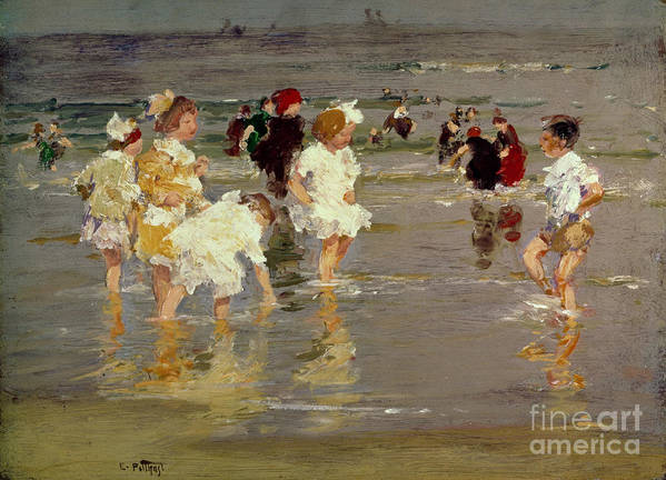 Water Poster featuring the painting Children on the Beach by Edward Henry Potthast