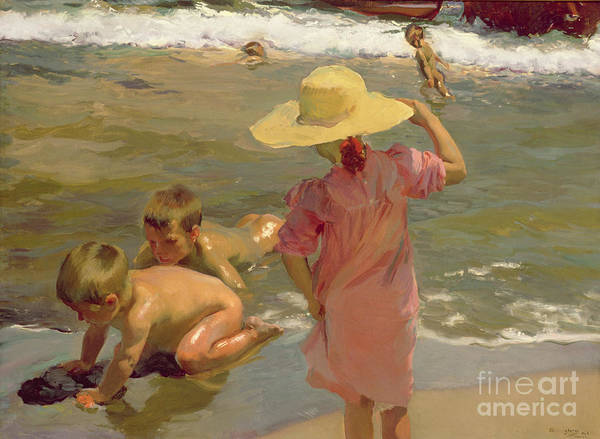 Children Poster featuring the painting Children On The Seashore by Joaquin Sorolla y Bastida