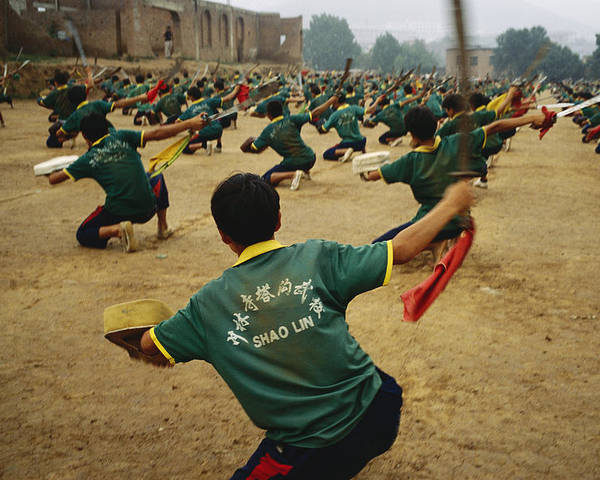 Asia Poster featuring the photograph Children Practice Kung Fu In A Field by Justin Guariglia