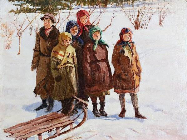 Snow Poster featuring the digital art Children With A Sled Nikolai Petrovich Bogdanov-belsky by Eloisa Mannion