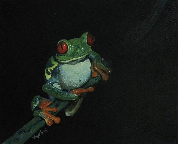 Frog Poster featuring the painting Chilling by Richard Ong