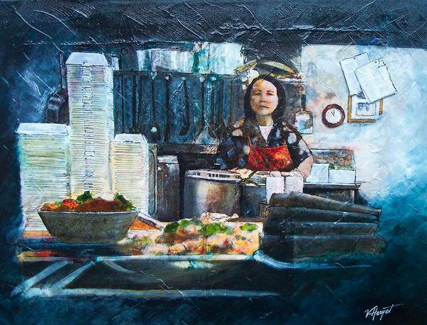 Chinese Poster featuring the painting China Kitchen by Victoria Heryet