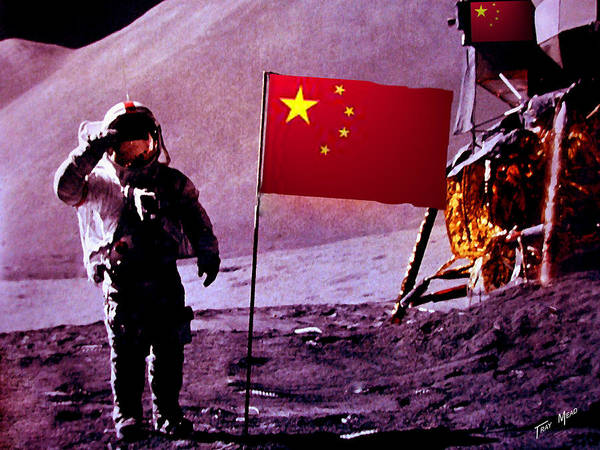 China Poster featuring the painting China On The Moon by Tray Mead