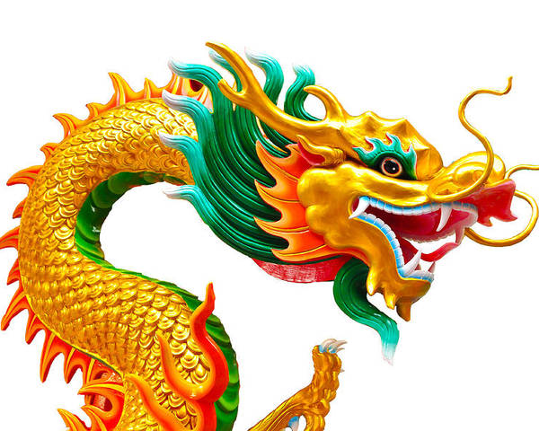 Ancient Poster featuring the sculpture Chinese Beautiful Dragon Isolated On White Background by Nichapa Sornprakaysang
