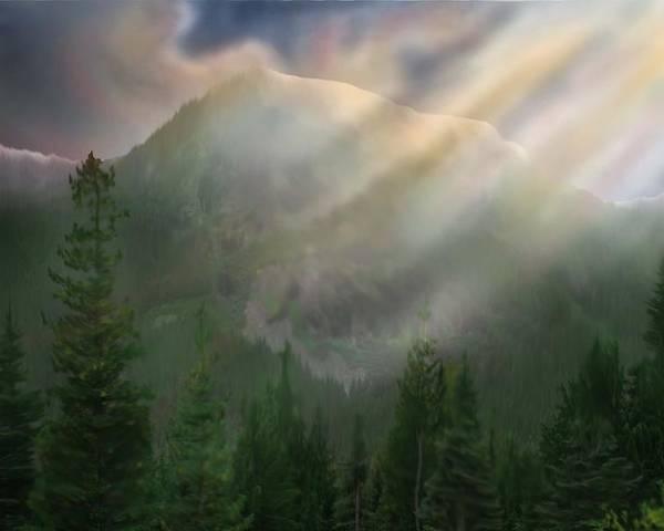 Landscape Oil Forest Tree Mountain Light Digital Art Painting Robert Bewick Poster featuring the digital art Chinook Vista by Robert Bewick