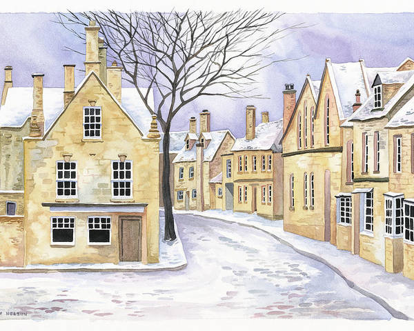 Chipping Campden Poster featuring the painting Chipping Campden In Snow by Scott Nelson