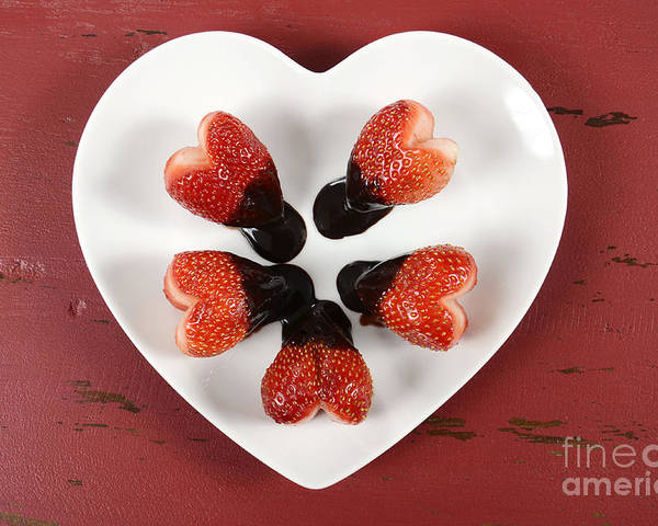 Valentine Poster featuring the photograph Chocolate Dipped Heart Shaped Strawberries On Heart Shape White Plate by Milleflore Images