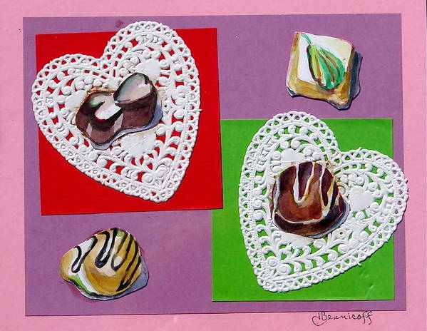 Valentines Poster featuring the mixed media Chocolate Hearts by Jan Bennicoff