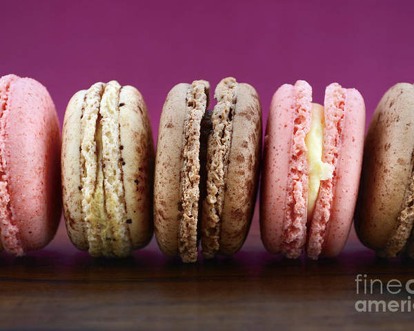 Bake Poster featuring the photograph Chocolate Strawberry And Vanilla Macaroons. by Milleflore Images