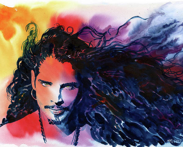 Soundgarden Poster featuring the painting Chris Cornell by Ken Meyer jr