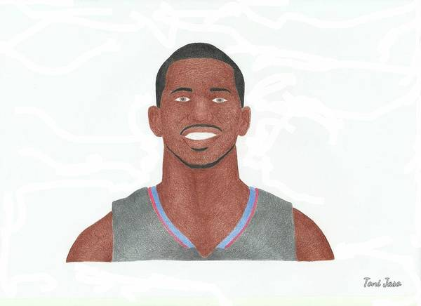 Chris Paul Poster featuring the drawing Chris Paul by Toni Jaso