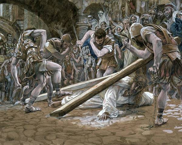 Fallen Poster featuring the painting Christ Falls Beneath The Cross by Tissot