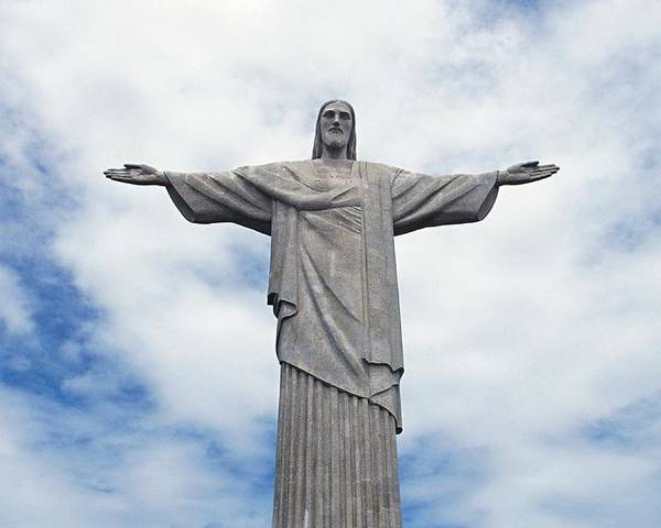 Jesus Christ; Sculpture; Art Deco; Christian; Symbol; Tijuca Forest National Park; Monument; Colossal; Monumental; Arms Outstretched; Gesture; Gesturing; Brazilian; Religious; Catholic; Corcovado Mountain Poster featuring the painting Christ The Redeemer by Paul Landowski