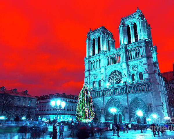 Christmas At Notre Dame Pop Art Poster featuring the photograph Christmas At Notre Dame Pop Art by John Rizzuto