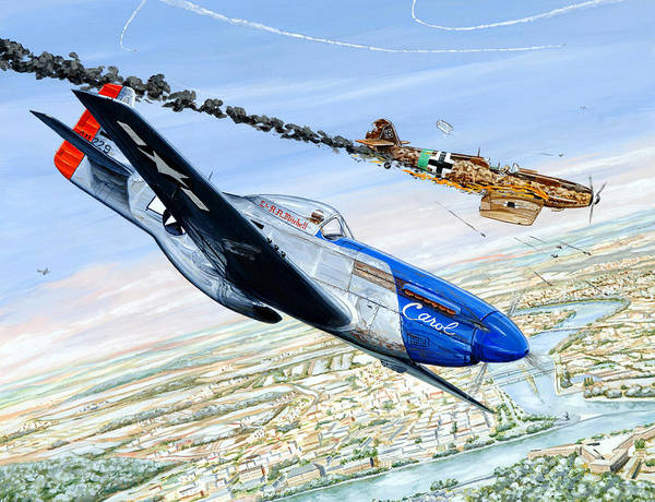 P-51 Mustang Poster featuring the painting Christmas Carol by Charles Taylor