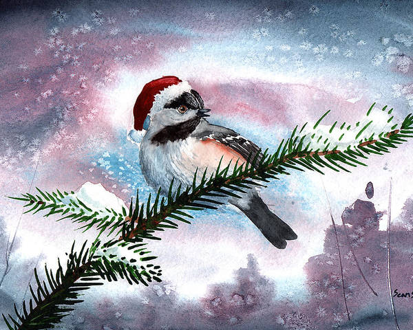 Birds Poster featuring the painting Christmas Chic by Sean Seal