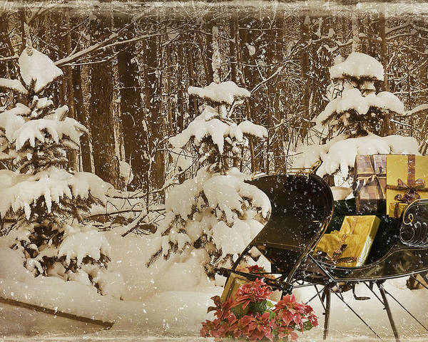 Christmas Poster featuring the mixed media Christmas Delivery by Maria Dryfhout