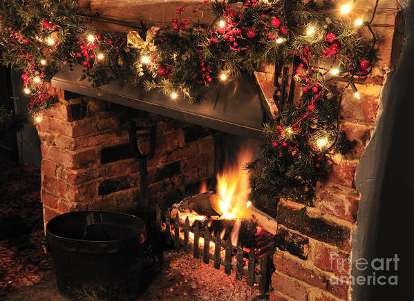 Christmas Poster featuring the photograph Christmas Fireplace by Andy Smy