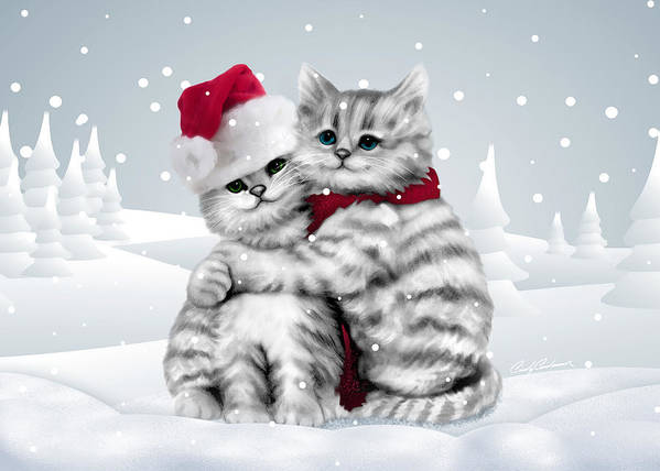 Kitten Poster featuring the drawing Christmas Hug by Cindy Anderson