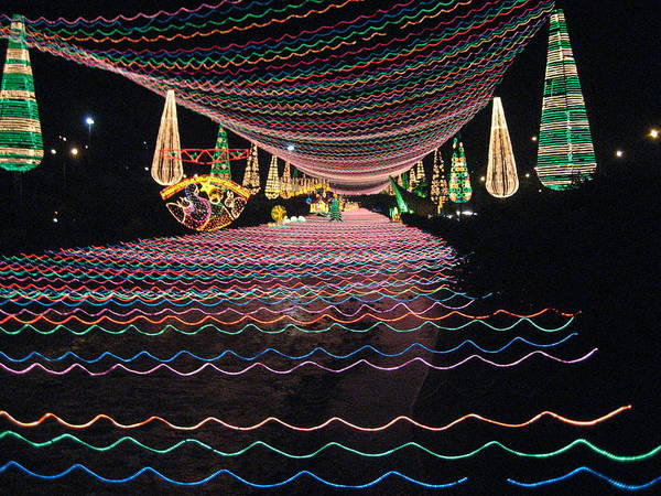 Night Scene With Illuminating Lights Poster featuring the photograph Christmas Lights Over The River by Ileana Carreno