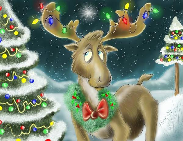 Childrens Art Poster featuring the drawing Christmas Moose by Hank Nunes