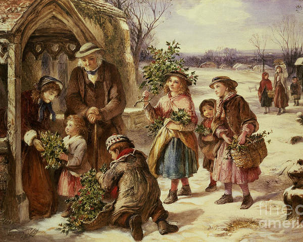 Holly Poster featuring the painting Christmas Morning by Thomas Falcon Marshall