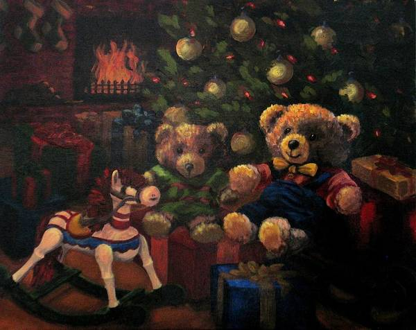 Christmas Poster featuring the painting Christmas Past by Karen Ilari