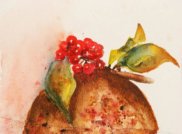 Christmas Card Poster featuring the painting Christmas Pud by Lucia Del