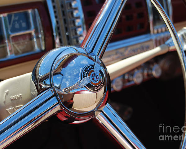 Classics Poster featuring the photograph Chrysler Town And Country Steering Wheel by Larry Keahey