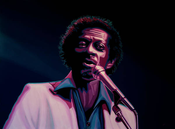Chuck Berry Poster featuring the painting Chuck Berry by Paul Meijering