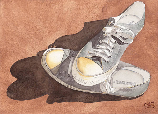 Shoes Poster featuring the painting Chucks by Ken Powers