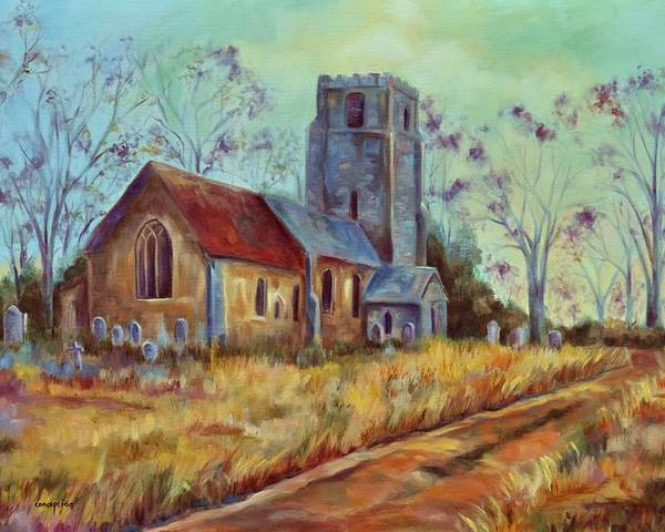 English Churches Poster featuring the painting Church in Suffolk by Ginger Concepcion