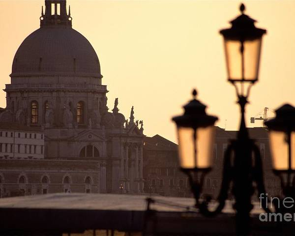 Venice Poster featuring the photograph Church Of Santa Maria Della Salute With Lamp Post by Michael Henderson