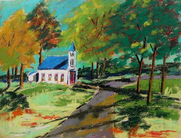 Church Poster featuring the painting Church On The Bend Landscape by John Williams