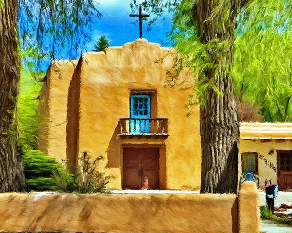 Chapel Poster featuring the painting Church With Blue Door by Jeff Kolker