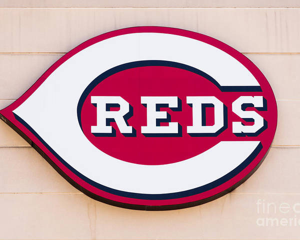 America Poster featuring the photograph Cincinnati Reds Logo Sign by Paul Velgos