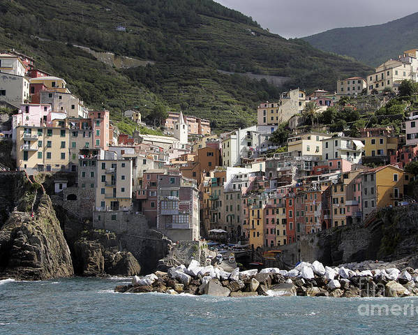 Italy Poster featuring the photograph Cinqueterre From The Sea by Stan and Anne Foster