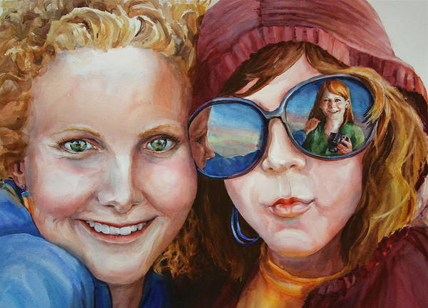 Portrait Poster featuring the painting Circle Of Sisters by Carolyn Epperly