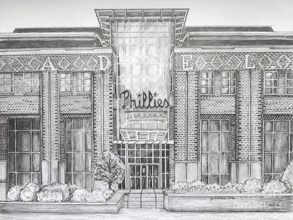 Citizens Bank Park Poster featuring the drawing Citizens Bank Park by Juliana Dube