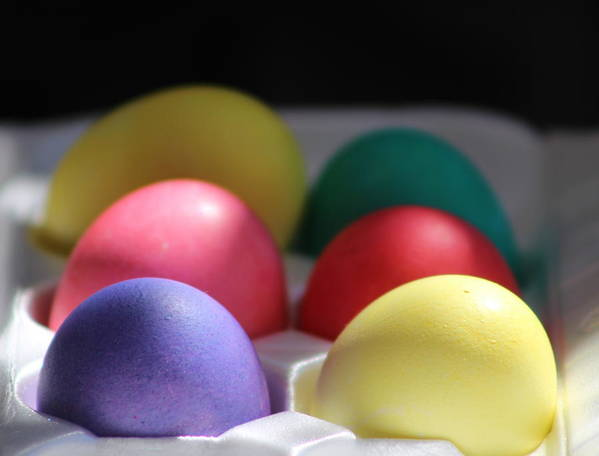 Dye Poster featuring the photograph Citrus and Ultra Violet Easter Eggs by Colleen Cornelius