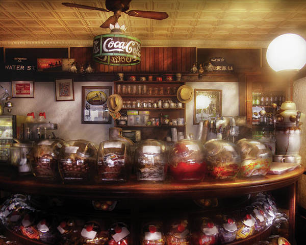 Savad Poster featuring the photograph City - Ny 77 Water Street - The Candy Store by Mike Savad