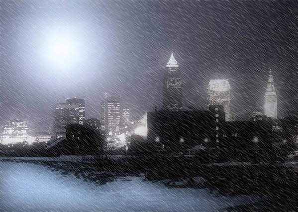 Cleveland Poster featuring the photograph City Bathed In Winter by Kenneth Krolikowski