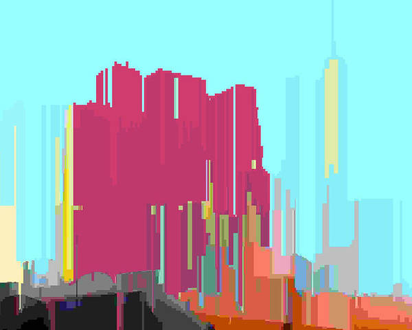 Abstract Poster featuring the digital art City Color 3 by Lyle Crump
